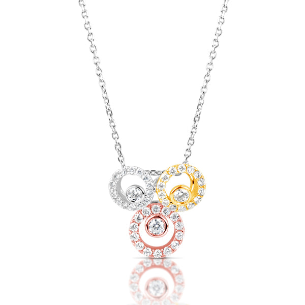 14K Tri-Color Diamond Pendant.#1090-P3242RYW