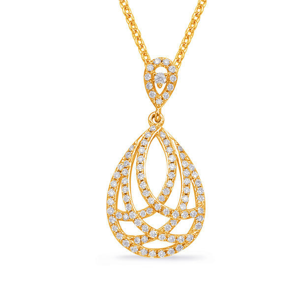 14K Yellow Gold Diamond Pendant. #1090-P3261YG