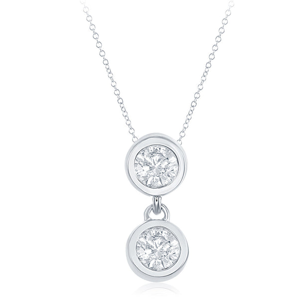 White Gold Two Stone Pendant