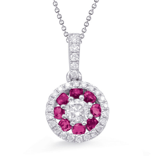 White Gold Ruby & Diamond Pendant