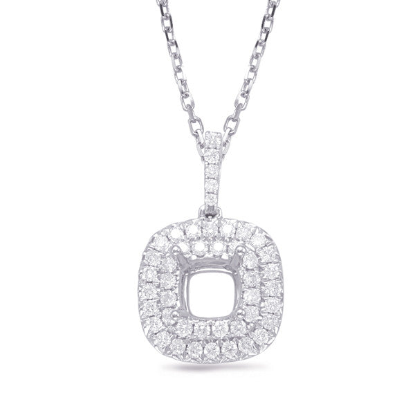 Diamond Pendant For 1.25ct Cushion Cente
