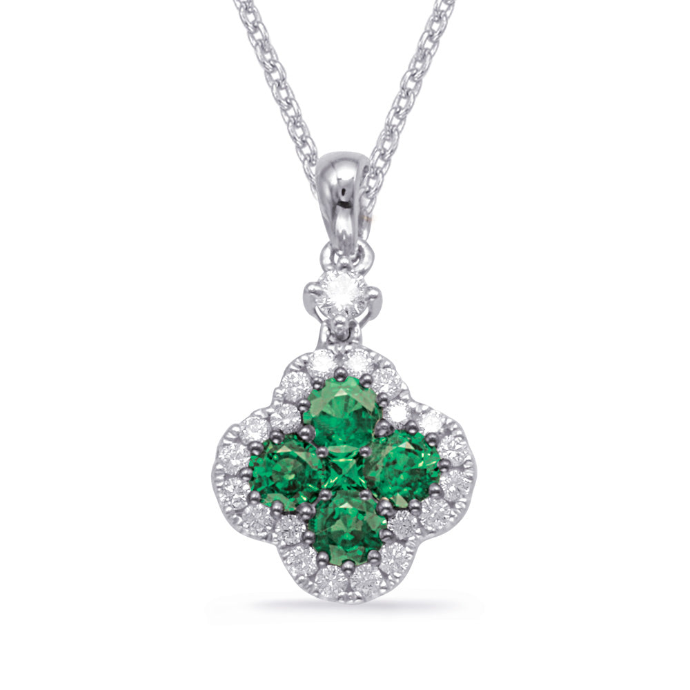 14K Emerald and Diamond Pendant. #1090-P3302EWG
