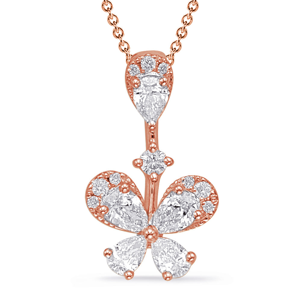 14K Rose Gold Diamond Pendant. #1090-P3305RG