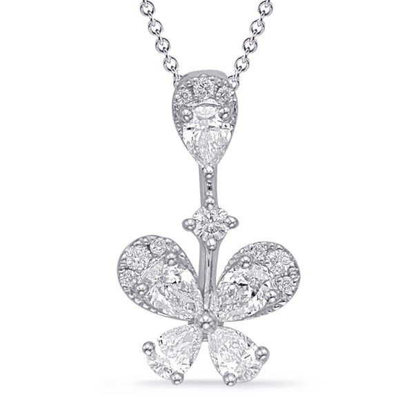 14K White Gold Diamond Pendant. #1090-P3305WG