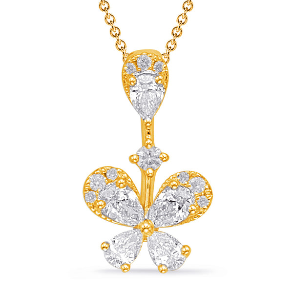 14K Yellow Gold Diamond Pendant. #1090-P3305YG