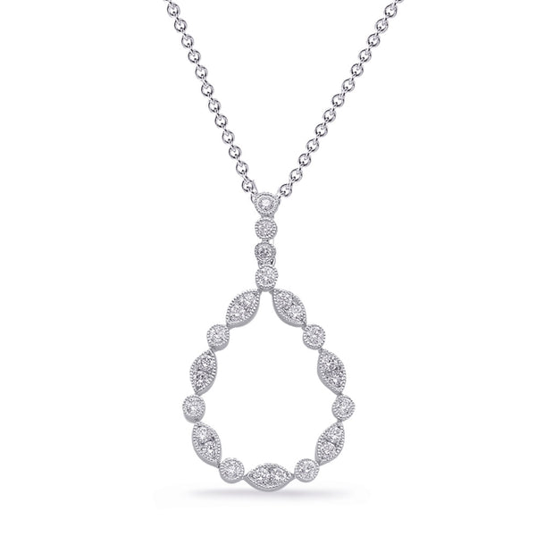 14K White Gold Diamond Pendant. #1090-P3310WG