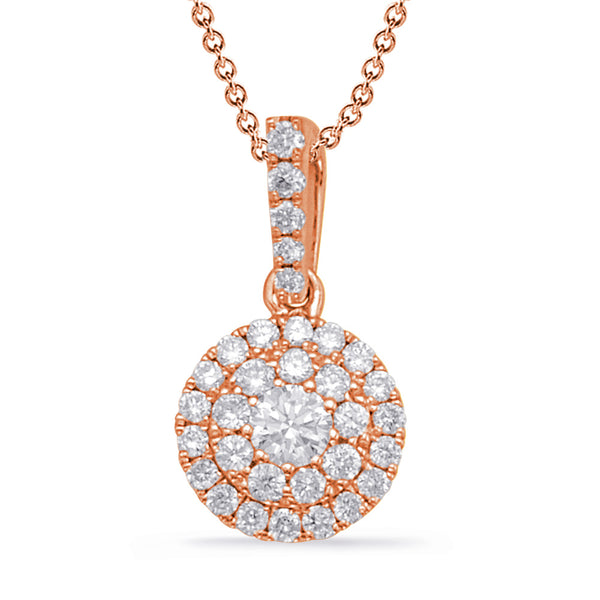 14K Rose Gold Diamond Pendant. #1090-P3311RG