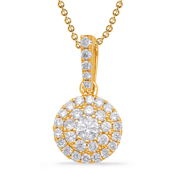 14K Yellow Gold Diamond Pendant. #1090-P3311YG
