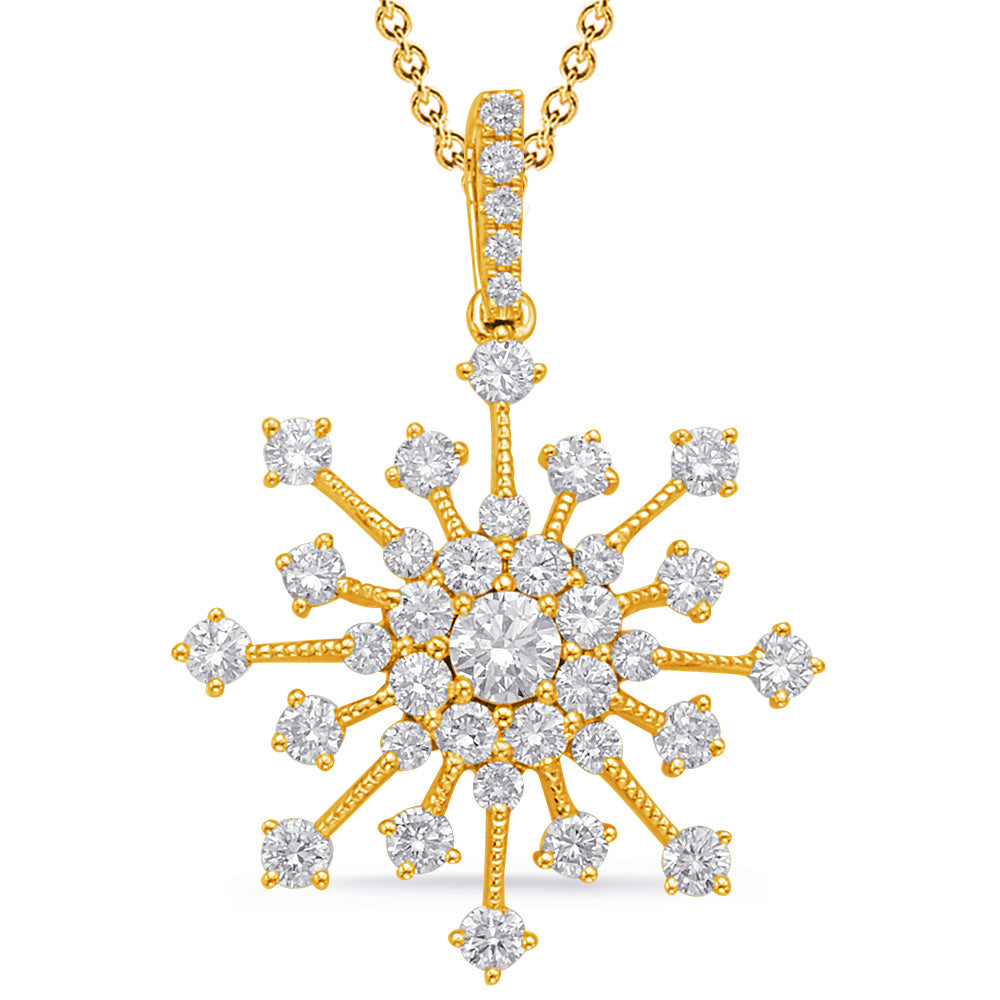 14K Yellow Gold and Diamond Pendant.#1090-P3312YG