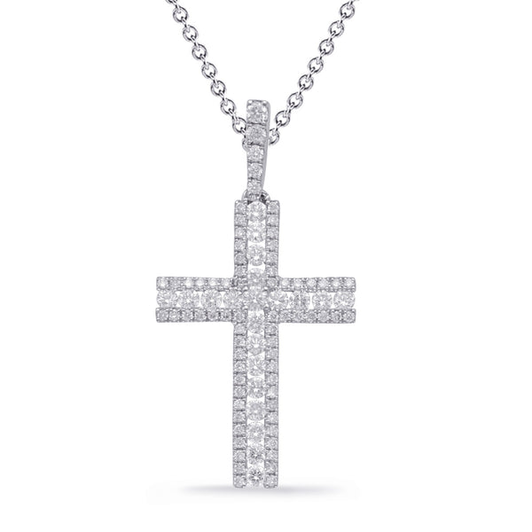 14K White Gold Diamond Cross. #1090-P3313WG