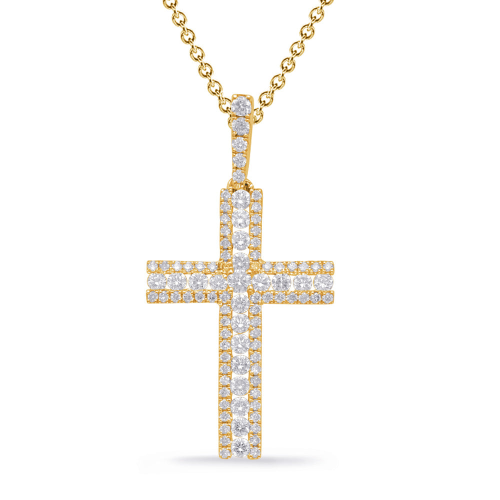 14K Yellow Gold Diamond Cross. #1090-P3313YG