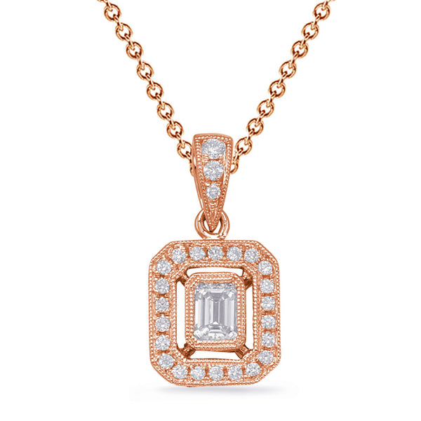 14K Rose Gold Diamond Pendant. #1090-P3315RG