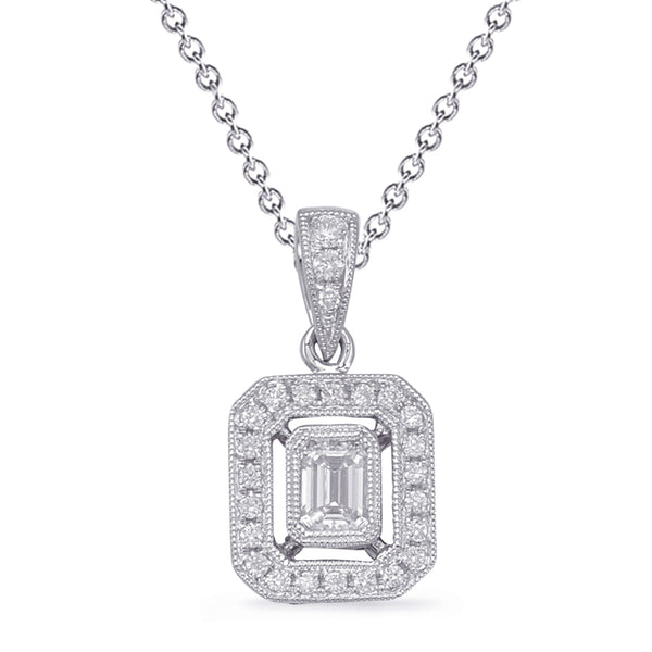 14K White Gold Diamond Pendant. #1090-P3315WG