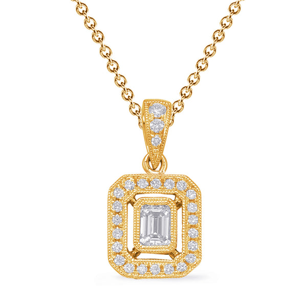 14K Yellow Gold Diamond Pendant - #1090-P3315YG