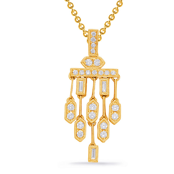 14K Yellow Gold Diamond Pendant. #1090-P3316YG