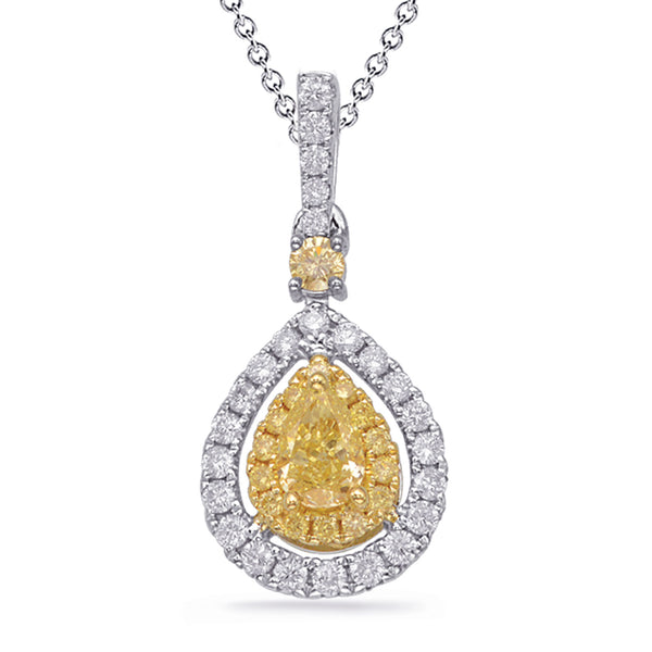 14K Yellow and White Gold Diamond Pendant. #1090-P3319YW