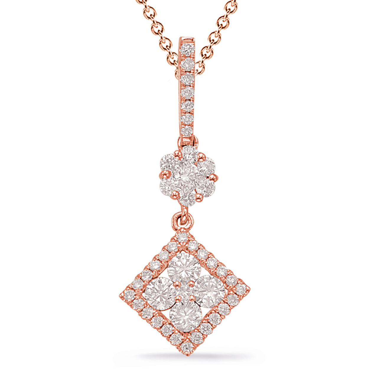 14K Rose Gold Diamond Pendant. #1090-P3320RG