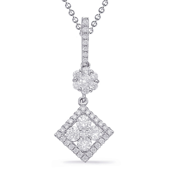 14K White Gold Diamond Pendant. #1090-P3320WG