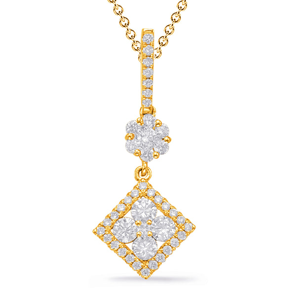 14K Yellow Gold Diamond Pendant. #1090-P3320YG