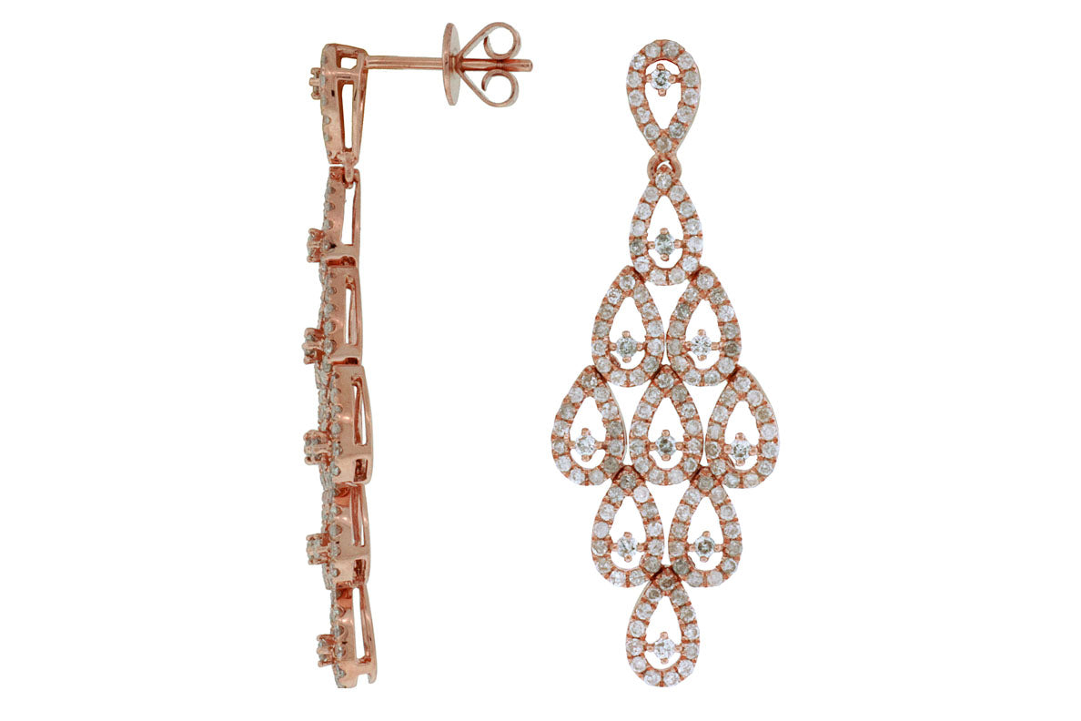14K Rose Gold and Diamond Earrings. #1167-PC5214D