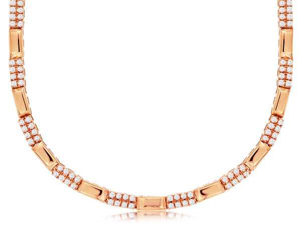 14K Rose Gold Diamond Necklace.#1167-PC8908D