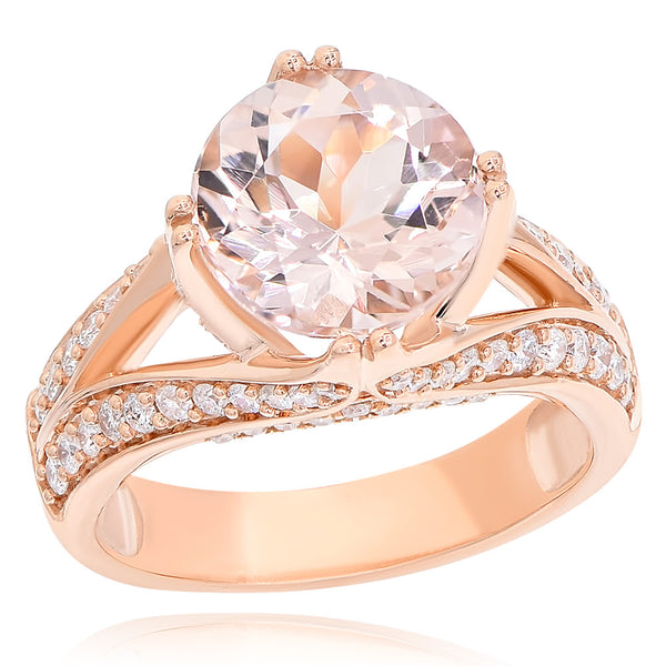 14K Morganite & Diamond Ring.#1099-AR15699A