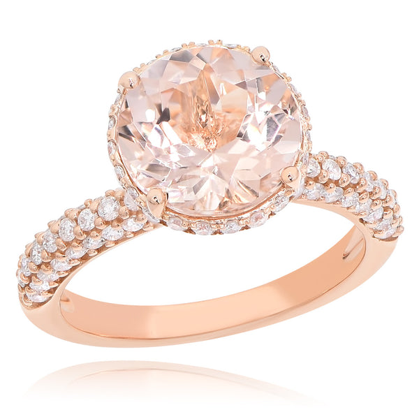 14K Morganite & Diamond Ring.#1099-AR15702A