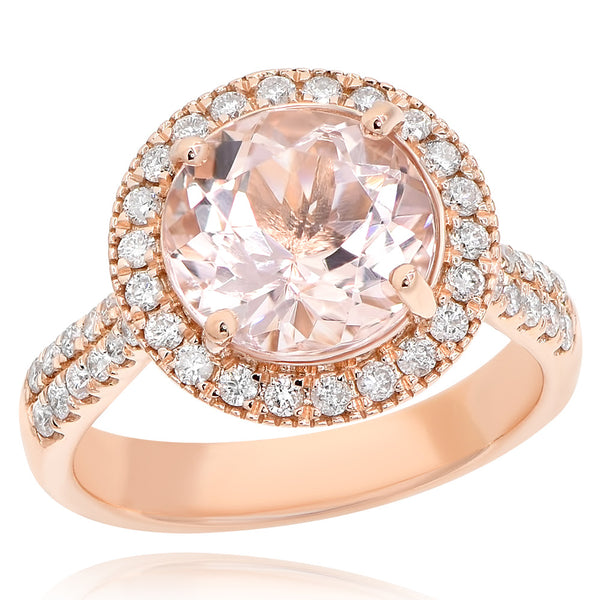 14K Morganite & Diamond Ring.#1099-AR15732A