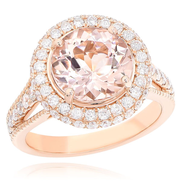 14K Morganite & Diamond Ring.#1099-AR15733A