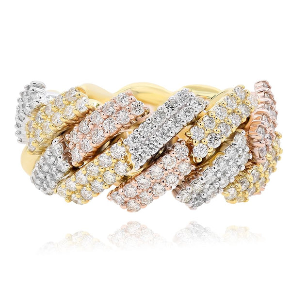 White ,Yellow and Rose Gold Men's Diamond Ring #1099-K0356R2