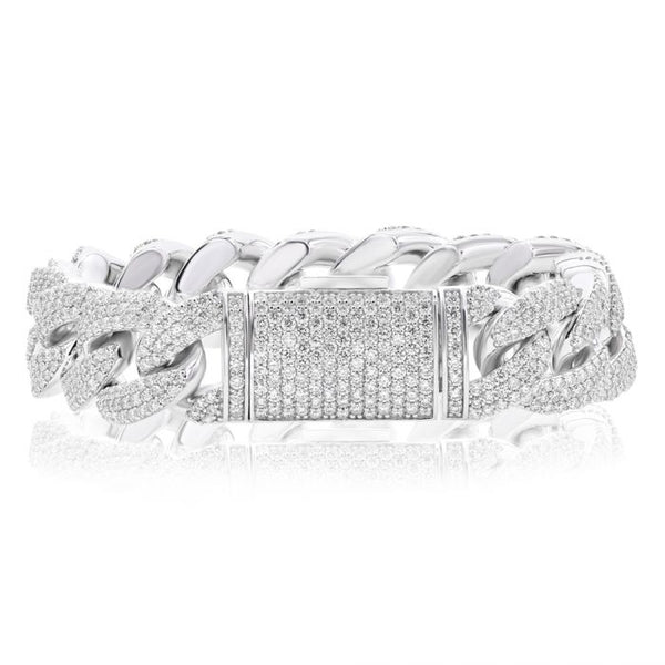14K White  Gold & Diamond Men's Bracelet.#1099-K0455