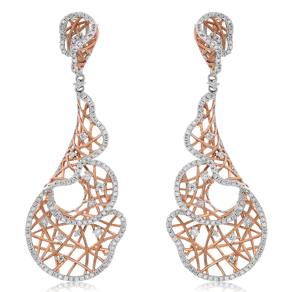 White & Rose Gold Diamond Earrings. #1099-E0924