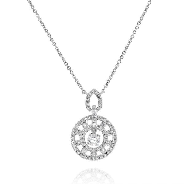 14K White Gold Diamond Pendant. #1099-PG584