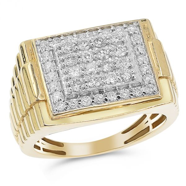Yellow Gold Men's Diamond Ring #1099-R0265