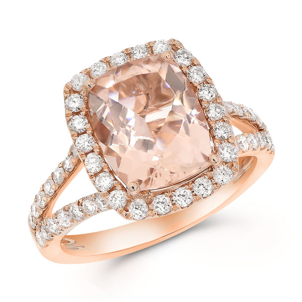14K Morganite & Diamond Ring.#1099-RK926