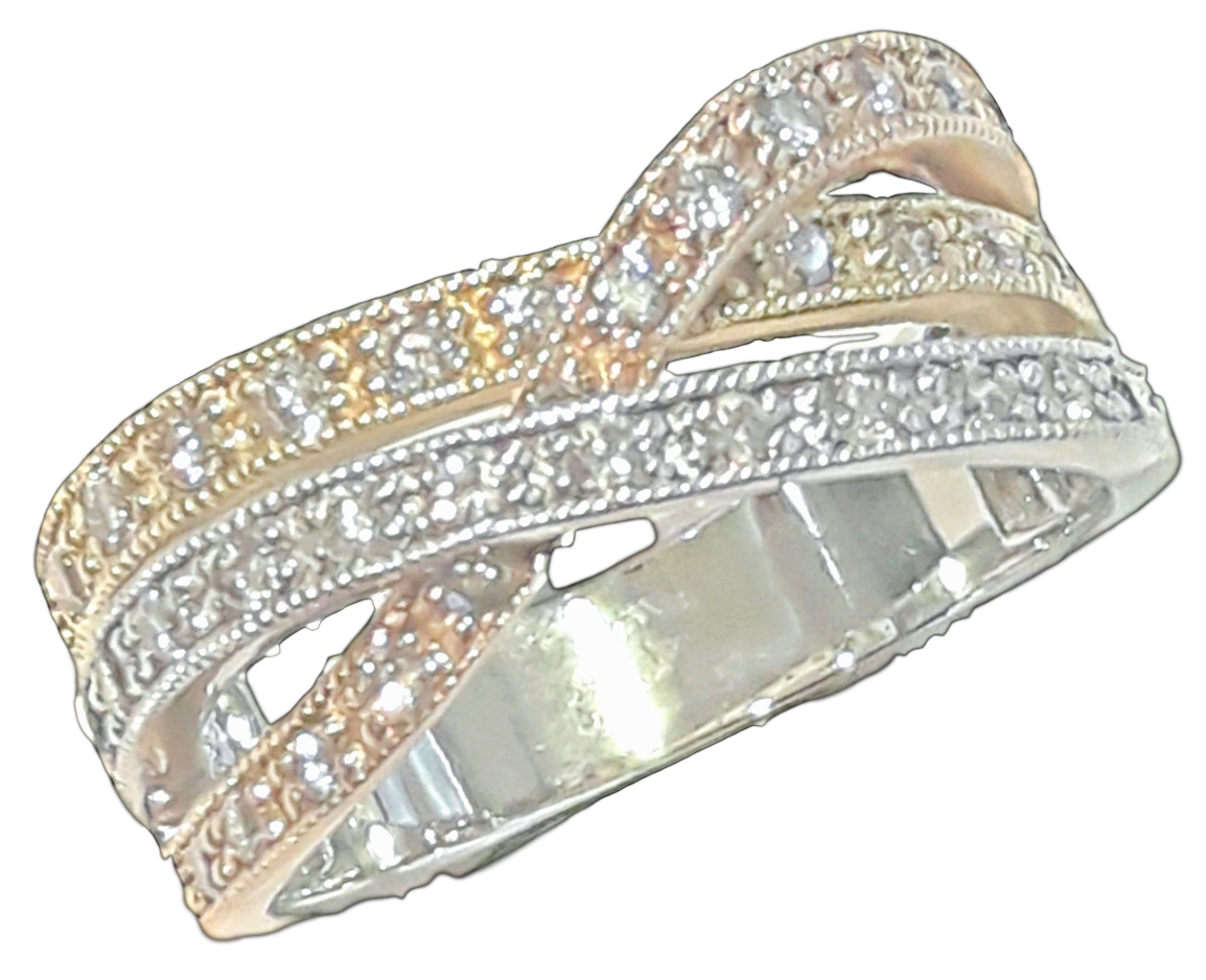 White & Yellow & Rose Gold Diamond Ring # 10121824