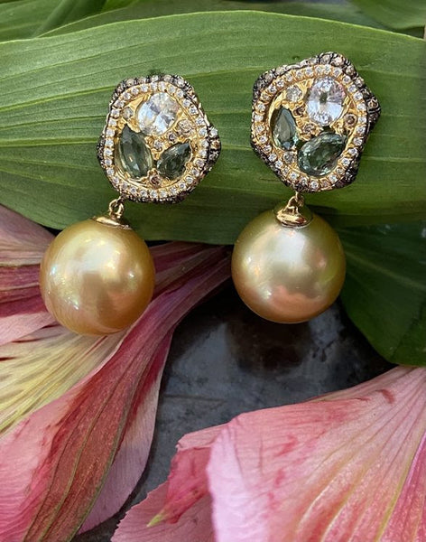 Golden South Sea Earrings with Diamonds and Sapphires