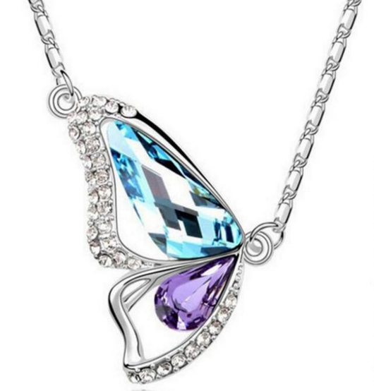 Purple and Blue Butterfly Pendant