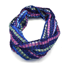 San Antonio Infinity Open Weave Scarf Blue Multi - Lucias Imports