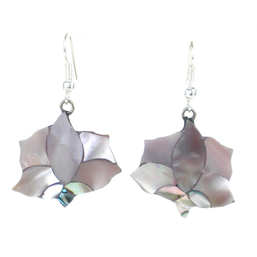 Pink abalone and alpaca silver lotus flower earrings