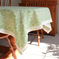 Lime Illusion Cotton Tablecloth 60 by 60 - Sustainable Threads (L)