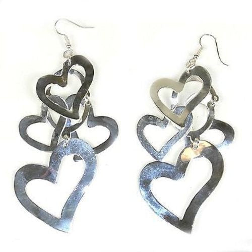 Large Silverplated Heart Cluster Earrings Handmade and Fair Trade
