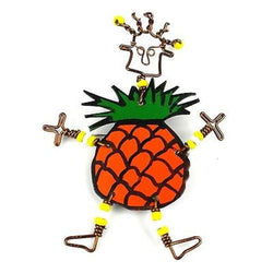 Dancing Girl Pineapple Pin Handmade and Fair Trade