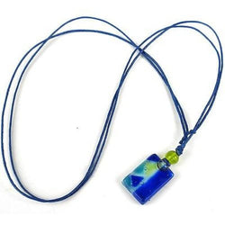 Blue Zig-Zag Small Fused Glass Pendant Necklace Handmade and Fair Trade