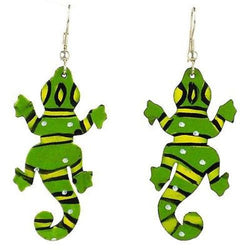 Painted Gecko Earrings Handmade and Fair Trade