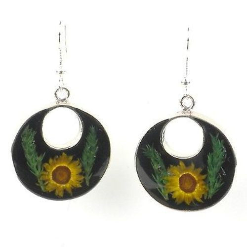 Nahua Flower Round Drop Earrings Handmade and Fair Trade