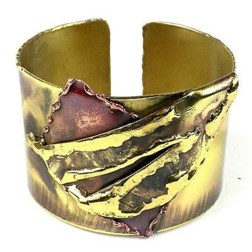 Layered Leaf Copper and Brass Cuff Handmade and Fair Trade