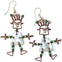 Tin Dancing Girl Earrings Handmade and Fair Trade