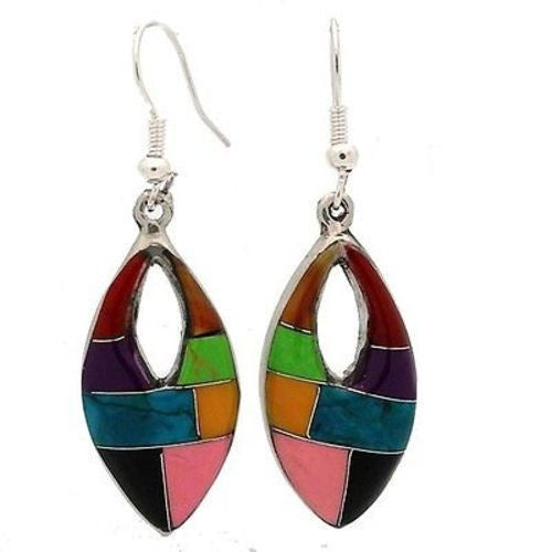 Oval Mosaic Stone Earring with Cut Out Handmade and Fair Trade