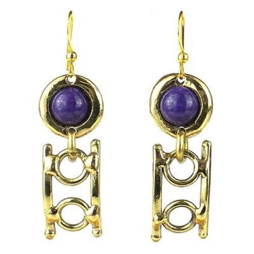 Purple Stone Playground Brass Earrings Handmade and Fair Trade